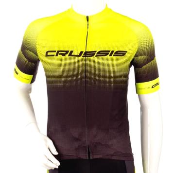 Cyklistický dres s krátkym rukávom Crussis čierna-fluo žltá - 3XL