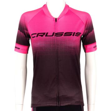 Dámsky cyklistický dres s krátkym rukávom Crussis čierno-ružová - XL