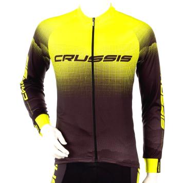 Cyklistický dres s dlhým rukávom Crussis čierna-fluo žltá - 3XL