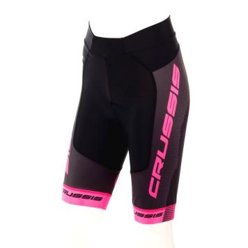 Dámske cyklistické kraťasy Crussis CSW-069 čierno-ružová - XL